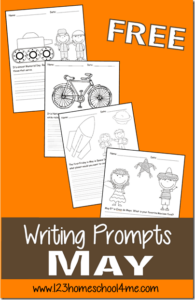 FREE May Creative Writing Promts - kids will have fun writing with these writing prompts including mothers day, bike day, memorial day, may flowers, and so much more for kindergarten, first grade, 2nd grade, and 3rd grade students Perfect for homeschooling. #creativewritingprompts #writingprompts #homeschool