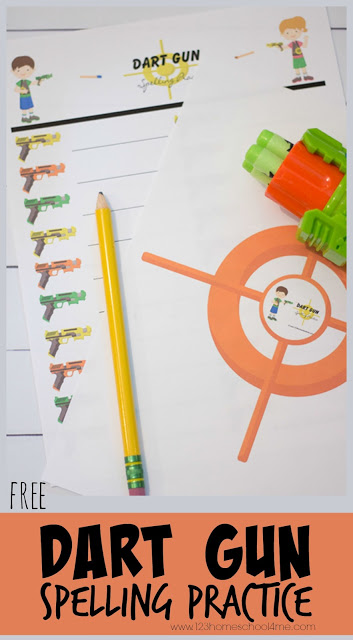 FREE Dart Gun Spelling Practice - fun spelling game that works with any spelling list for kids from kindergarten, first grade, 2nd grade, 3rd grade, and 4th grade. Perfect for homework, summer learning, and more. #spelling #spellinggames #spellingpractice