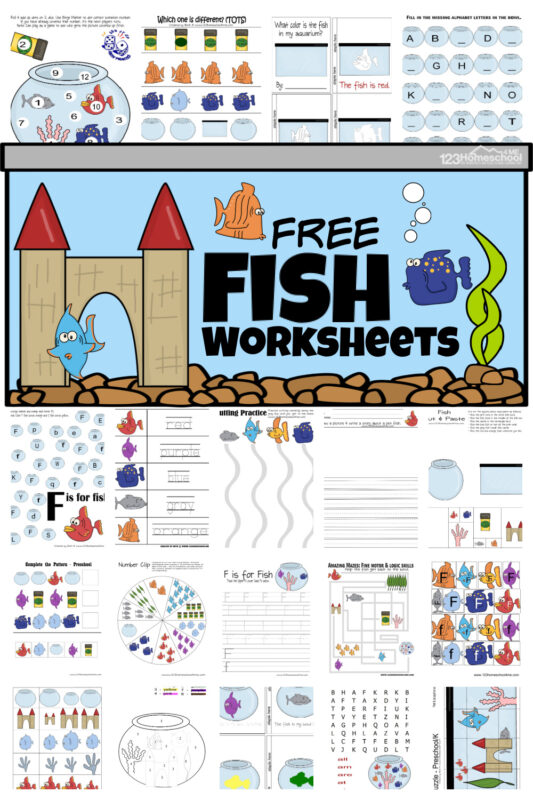 Kids will have fun schooling with these super cute fish worksheets. These fish worksheets for preschool, pre-k, toddler, and kindegarten age kids help children learn your letters, counting 1 to 12, match colors, problem solving and more. Add thesefish printables to your next ocean or fish themeSimply download pdf file with fish worksheets for kindergartenand you are ready to play and learn with this fish activity for kids.