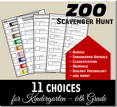 FREE Zoo Scavenger Hunt for Elementary Student Field Trips