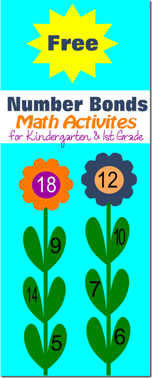 Free printable number bonds flower math activities for kindergarten and 1st grade homeschoolers using singapore math