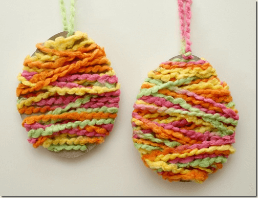 Easy Yarn Egg Craft from Fantastic Fun and Learning