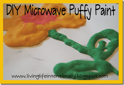 Microwave Puffy Paint from 123 Homeschool 4 Me