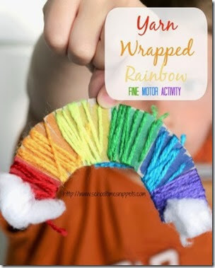 Yarn Wrapped Rainbow from School Time Snippets