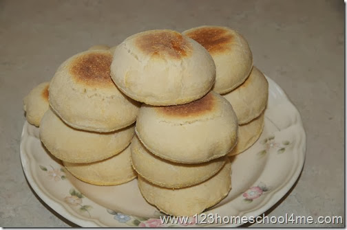 heaping plateful of yummy, ready to eat english muffins