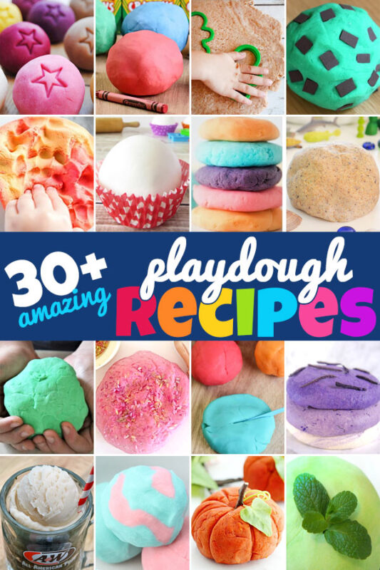 Are you looking for a the perfect playdough recipe? I've scoured the internet looking for the best, most interesting, and creative playdough recipes out there. These 30+ homade playdough are perfect for you to try with your kids. Whether you are setting up some sensory play or looking for a great hands-on learning activity, playdough is a great option. You'll find the perfecteasy to make playdoughfor any activity and all seasons on this list of the best playdough recipes. Fromcooked playdough recipe toedible playdough recipes your toddler, preschool, pre-k, kindergarten, first grade, 2nd grade, and 3rd graders are going to love these play doh options!