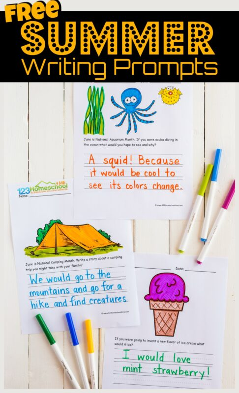 If you are looking for some fun, no prep writing ideas to keep your child writing during June and all summer, you will love these free printable Summer Writing Prompts. Each page includes a cute image to color, story starter, and ruled lines for writing. Lots of ideas for creative writing in June, July, and August with kindergarten, first grade, 2nd grade, 3rd grade, and 4th grade students. For parents, homeschoolers, teachers, or summer learning!
