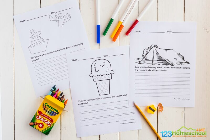 free printable Summer Writing Prompts for kindergarten, first grade, 2nd grade, 3rd grade, and 4th grade students for june, july and august