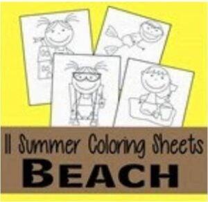 Summer Beach Coloring Sheets