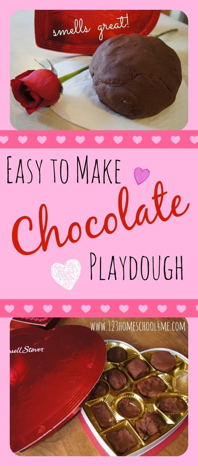 This Chocolate Playdough is a really funplaydough recipe to include in your Valentine's Day celebration. Use this chocolate playdough recipe as a hands-onValentines Day kids activities. It is easy to make and smells chocolaty good! It is especially fun to play with an empty heart chocolate box for toddler, preschool, kindergarten, and grade 1 students. Children will love the chocolate scented playdoughthat they can form into candies for a pretend play based on Valetnine's Day!