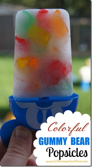 2 Ingredient - colorful Gummy Bear Popsicles that are easy-to-make, refreshing, and loads of summer fun. (popsicle recipe, summer recipes, kids activities) #yummy #summerbucketlist #kidsactivities