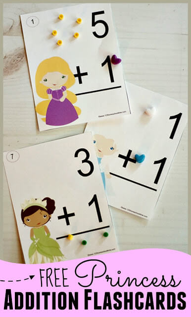 Looking for some ways to help your kindergarten, first grade, or 2nd grader practice addition facts? These addition flashcards are a handy tool to help children with adding numbers 0-10. To make this addition printable extra fun, we made them princess flashcards featuring some of kids' favorite characters. Simply download pdf file with addition flash cards printable and you are ready to practice addition on your own or as part of anaddition game oraddition activity for kids!