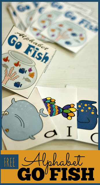 FREE Alphabet Go Fish game for preschool and kindergarten; this is such a fun way for kids to practice identifying upper and lower case letters. #alphabet  #preschool #kindergarten
