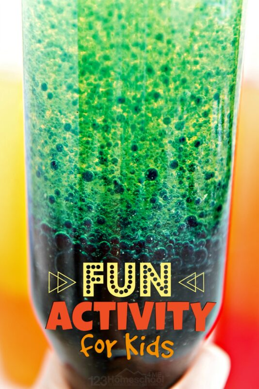 fun activities for kids where they will learn about chemical reactions, color mixing, and density of oil and water while having fun