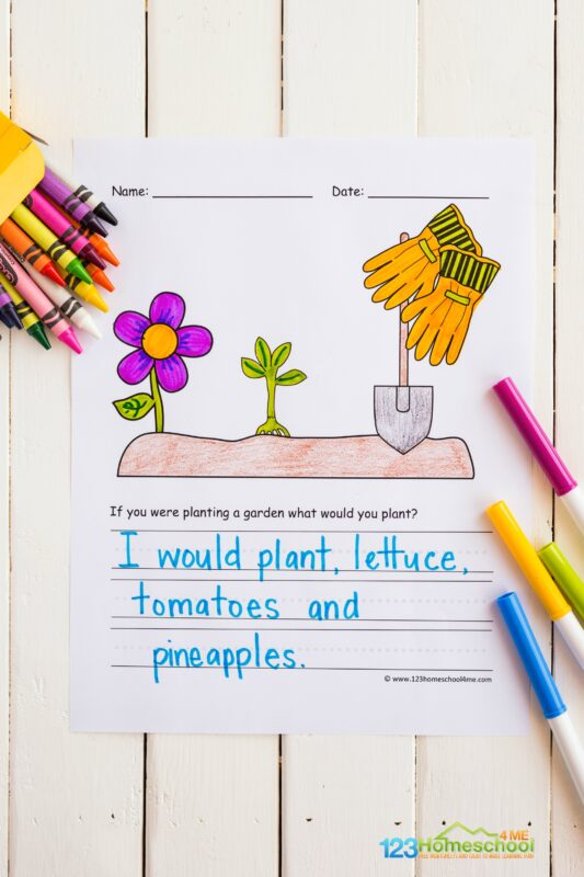 super cute garden creative writing prompts with a spot to color the picture and ruled lines for writing