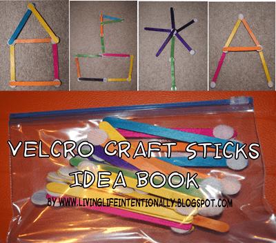 Velcro Craft Sticks Kids Activity with free printable idea book