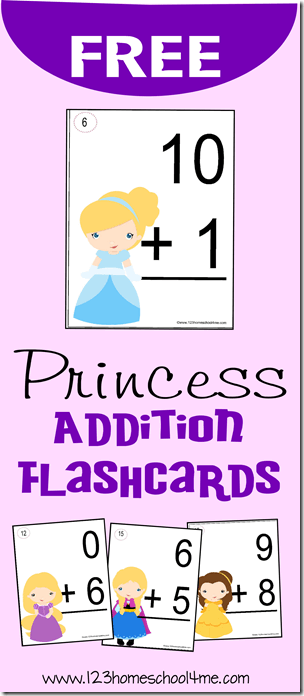 FREE Disney Princess Addition Flashcards to make practicing a fun math games for Kindergarten, 1st grade, and 2nd grade homeschoolers.