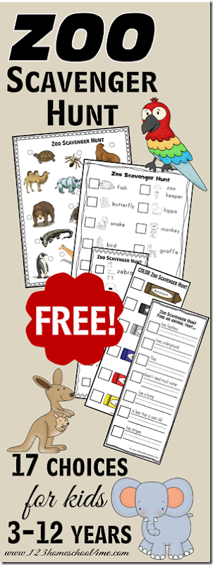 FREE Zoo Scavenger Hunt Sheets - 17 choices for Toddler, Preschool, Kindergarten, and Homeschool Elementary Kids. Perfect for fieldtrips!