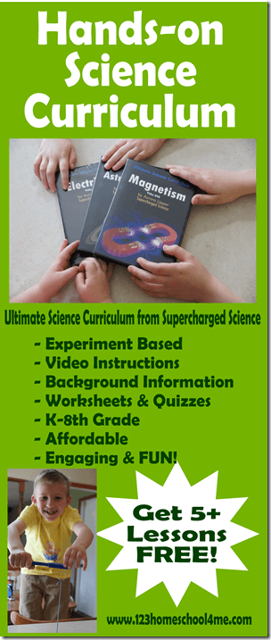 Ultimate Science Curriculum is a hands on, experiment based science curriculum for homeschookers K-8th grade that is fun and engaging!