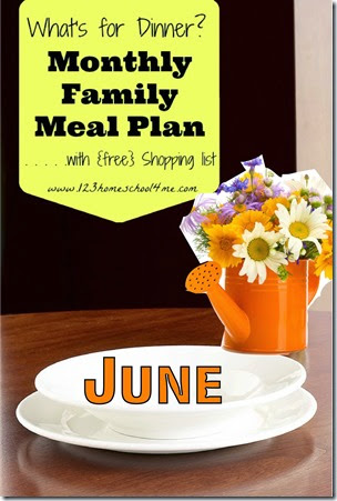 FREE June Family Meal Planner with printable weekly grocery list #mealplanner #recipes #summer #salands