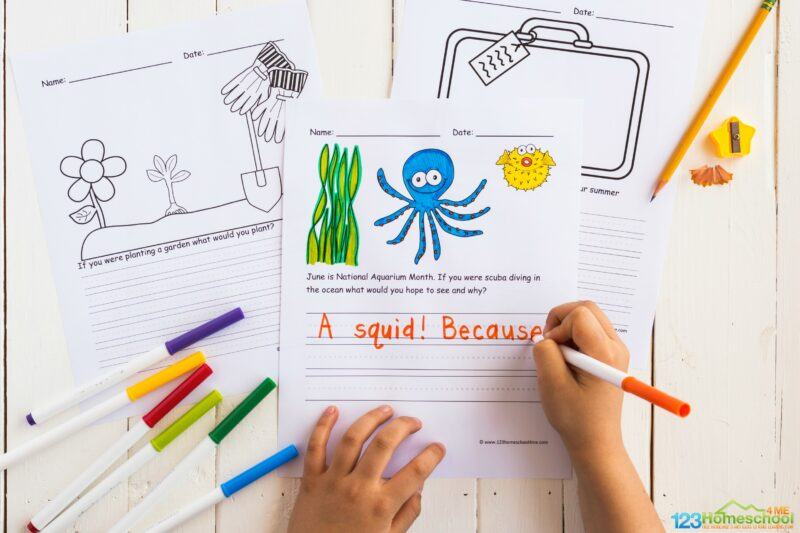 color the cute picture of an octopus, seaweed, and puffer fish and complete the free printable national aquarium month writing prompts for kids