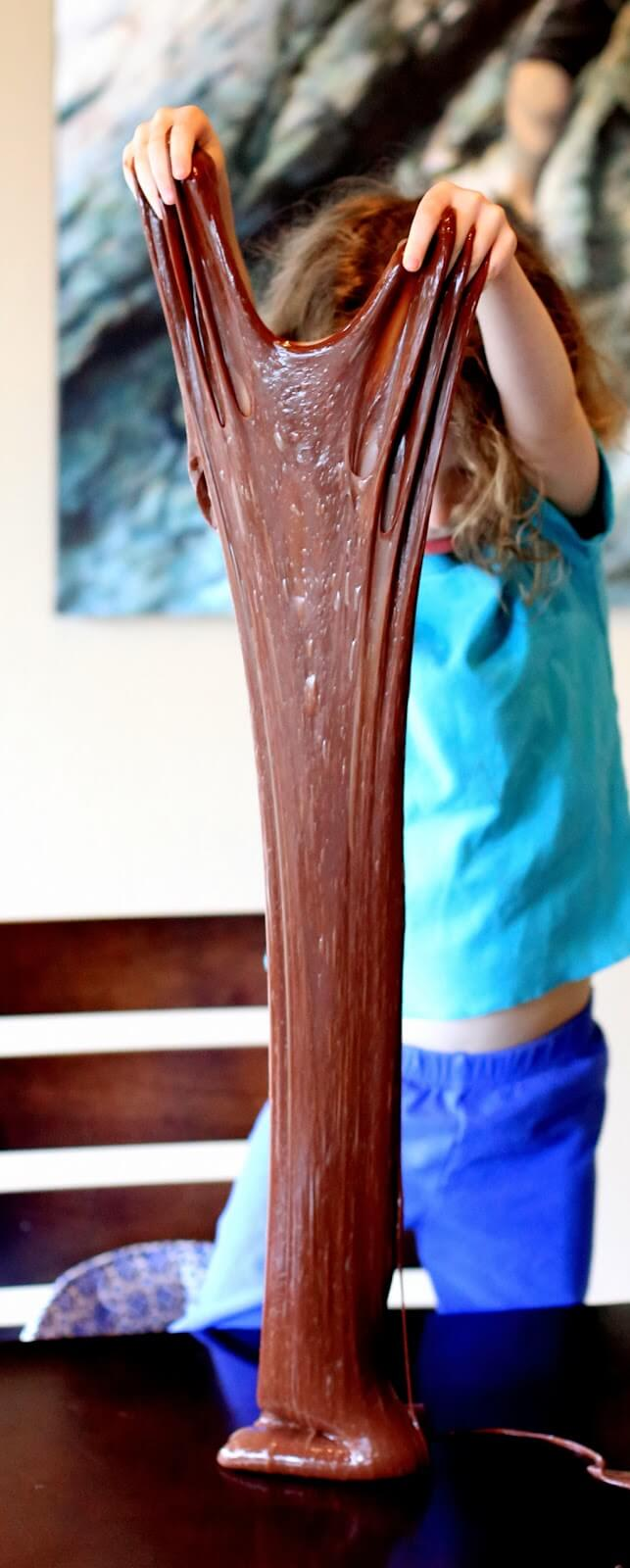 Chocolate Stretchy Slime Recipe from Fun at Home with Kids