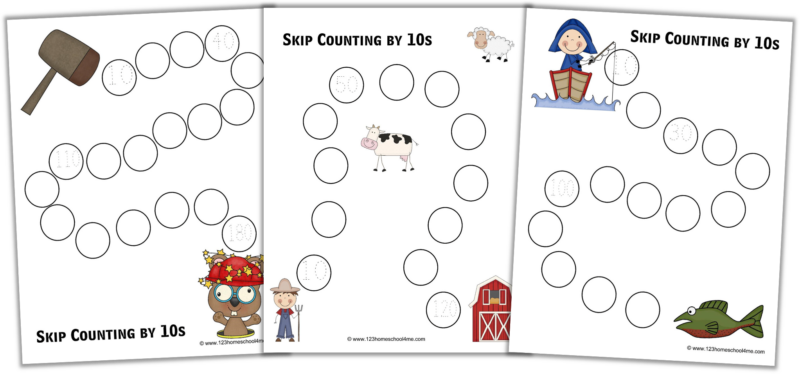 skip counting by 10 worksheets