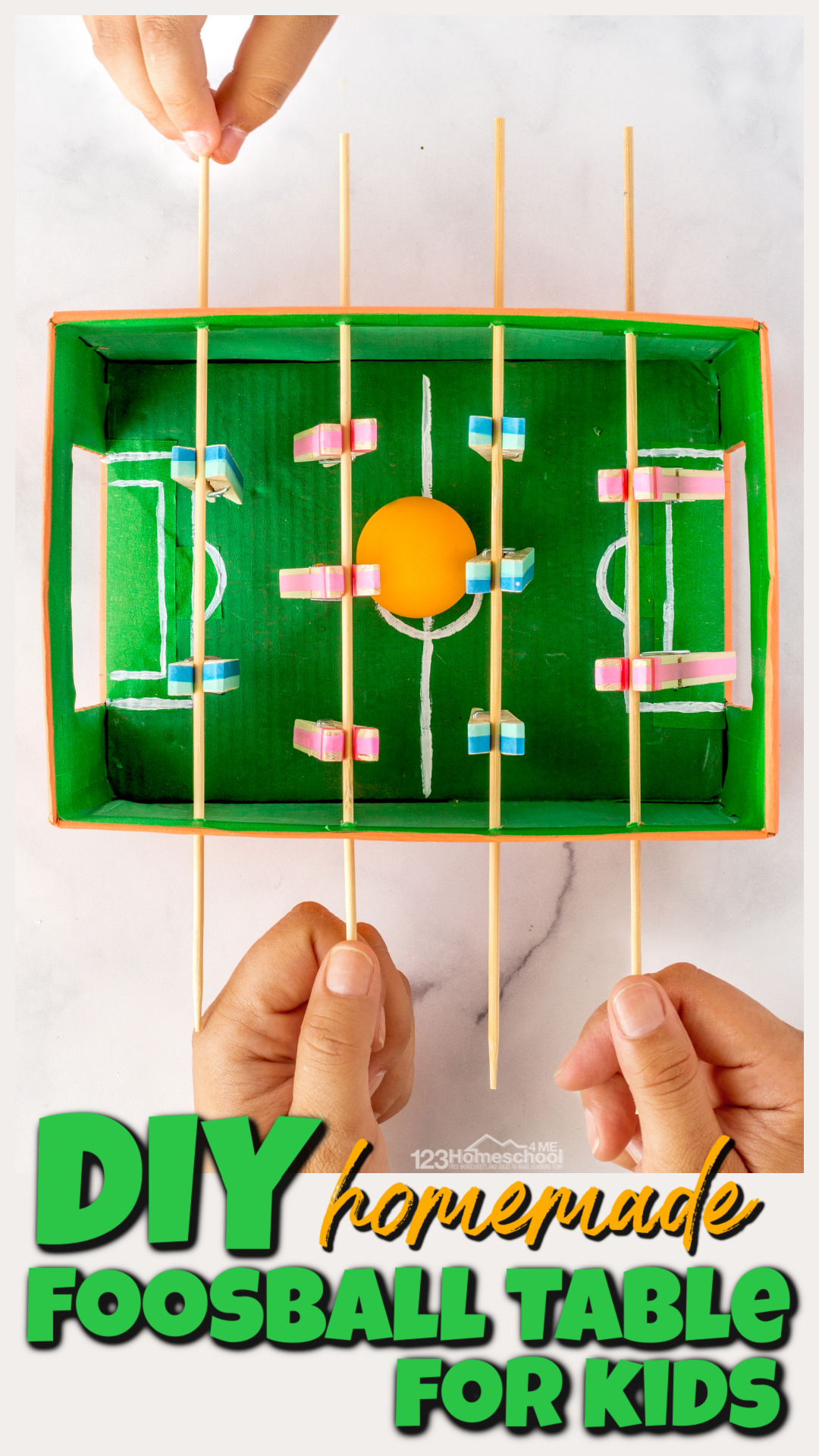 Making aDIY foosball table is a really fun STEM project for kids of all ages to make together and loads of fun to play with too! The diy games for kids is the project for a rainy day or as a summer bucket list idea. Try thishomemade games for kids with preschool, pre-k, kindergarten, first grade, 2nd grade, 3rd grade, and 4th graders too. This EPIC kids activity is sure to be a hit with your kids.