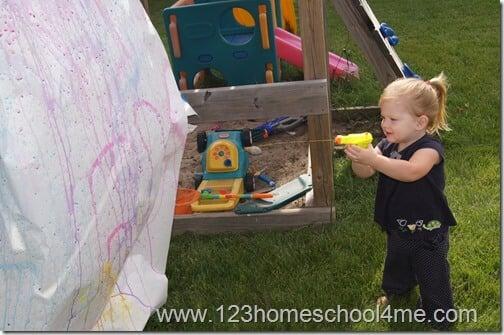 Kids Activities Squirt Gun Painting