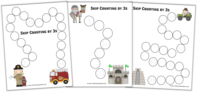 Skip Counting by 3 Worksheets