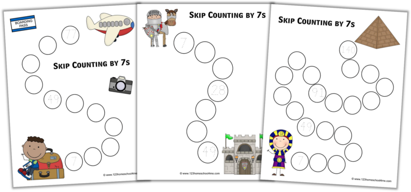 Skip Counting by 7 Worksheets