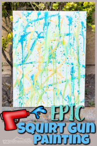 This EPIC summer activities for kids uses a really fun technique to make squirt gun painting! This water gun painting is such a fun summer art project for toddler, preschool, pre-k, kindergarten, first grade, 2nd grade, 3rd grade, and 4th graders. Thesquirt panting is as much fun to make as it is to look at afterwards with the unique patterns. This Summer Painting for kidsis a MUST for your list ofsummer activities for preschoolers!