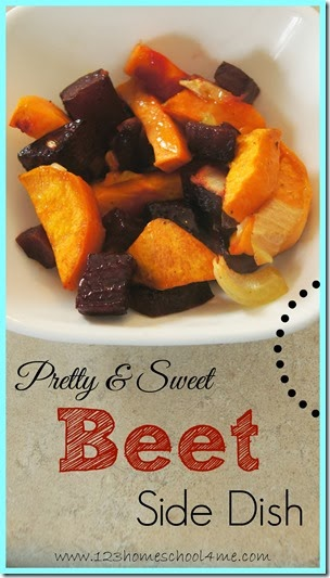 Pretty & Sweet Beet Side Dish - If you are looking for yummy beet recipes to include more of this summer super food in your diet you've GOT TO TRY THIS! It is so pretty and a great sweet side dish. Yummy!