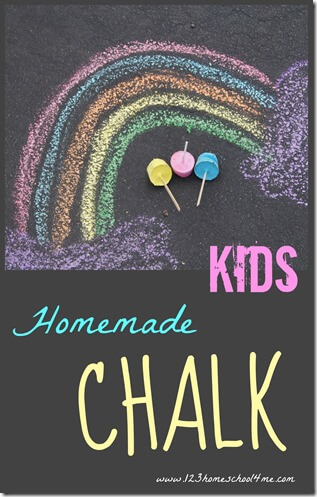 Kids will have fun learning how to make chalk with this fun summer activity for children of all ages! DIY sidewalk chalk is so much better than store bought. AFter I show you how to make chalk paint with plaster of parisyou will see how much richer the colors are and howhomemade chalk doesn't get all over your child's hands like storebought driveway chalk. This 3 ingredient chalk recipe is perfect for toddler, preschool, pre-k, kindegarten, first grade, 2nd grade, 3rd graders and up to play with afun summer activitiy.