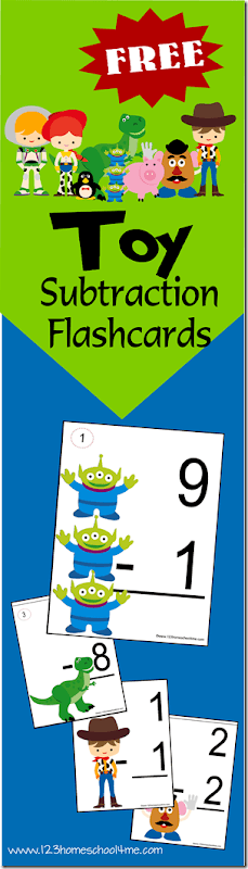 Help children practice subtraction with these handysubtraction flashcards. These printable subtraction flash cards allow kindergarten, first grade, and 2nd graders to practice subtracting along with their favorite toys featuring in movies like Toy Story. Simply grab the pdf file withsubtraction flash cards and you are ready to play and learn with asubtraction activity!