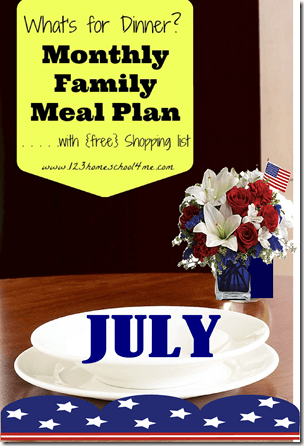 July meal planner (free) includes recipes, menus, and weekly grocery list #mealplanner #recipes