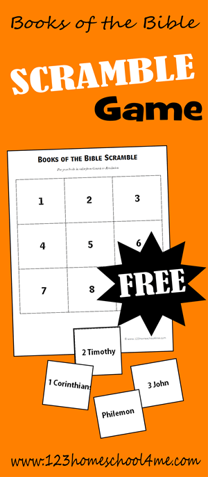 If you are looking for a funbooks of the bible game to help kids learn theBooks of the Bible, here is a free printable Books of the Bible Scramble activity. ThisBible Game is perfect for at home or Sunday School Lessons with kindergarten, first grade, 2nd grade, 3rd grade, and 4th grade students. Simply download pdf file withbooks of the bible printable and you are ready to play and learn.