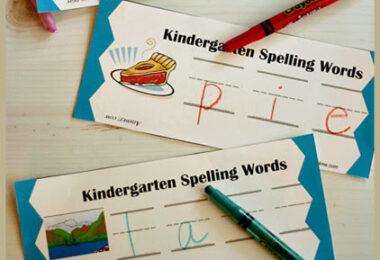 Kindergarten Spelling Words Practice