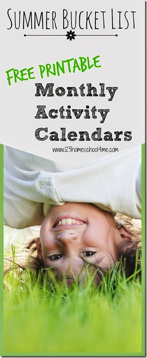 FREE July Activity Calendar makes a great summer bucket list - LOVE these convenient, free printable monthly activity calendars! Lots of fun ideas without all the work of planning every day.