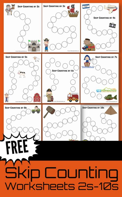 FREE Skip Counting Printables - these worksheets help kids practice counting by 2s, 3s, 4s, 5s, 6s, 7s, 8s, 9s, and 10s. There are 10 worksheets each that get increasingly harder #skipcounting #mathworksheets