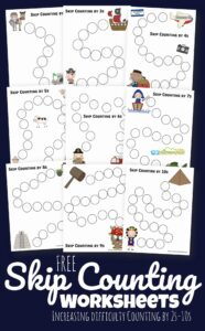 FREE Skip Counting Worksheets - kids will have fun practicing counting by 2s, 3s, 4s, 5s, 6s, 7s, 8s, 9s, and 10s with these printable worksheets that are in increasing difficulty #skipcoutning #mathworksheets #homeschool
