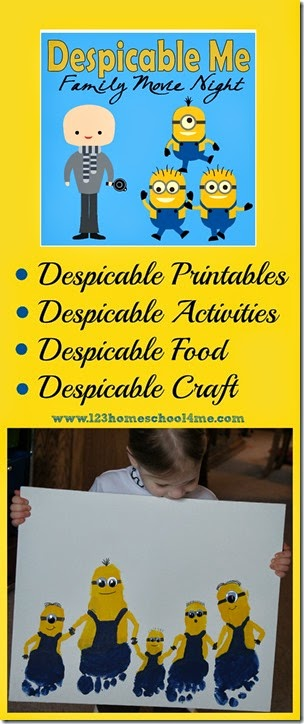 So many fun, clever ideas for a Minion Theme Party for kids, families, or to use with a Despicable Me movie night for the whole family! #minions #despicable #kidsactivities