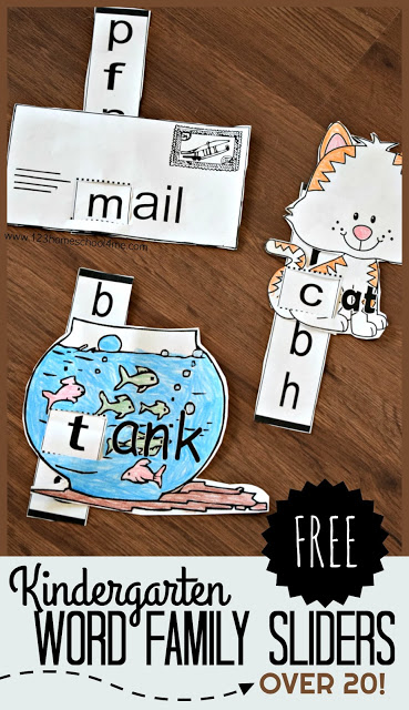 FREE Word Families Kindergarten - there are 20 free printable black and white word family sliders to help preschool and kindergarten age kids practice reading. These are so cute!! Just color, cut, slide, and read. #reading #wordfamilies #preschool #kindergarten