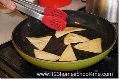 fry tortillas in coconut oil