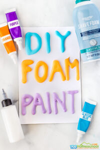 Have you tried making your owndiy puffy paint? It's really easy to whip up a batch ofpuffy paint recipe that will delight and engage children to create. This is a special kind of3d painting for kidsusing homemadefoam paint. You will love how easy it is to make thisdiy foam paint to let toddler, preschool, pre-k, kindergarten, first grade, 2nd grade, 3rd grade, and 4th graders creat amazing artwork!