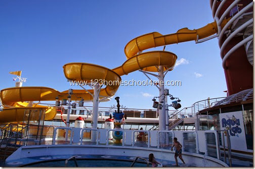 Huey, Duey, Louis Pool and Twist and Shout Slide on Disney Magic