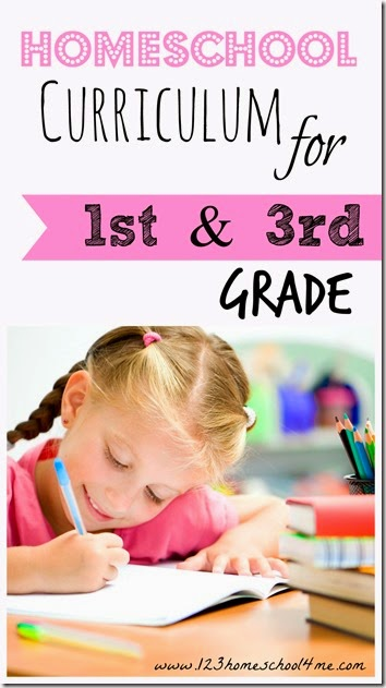 homeschool curriculum for 1st grade and 3rd grade #homeschool