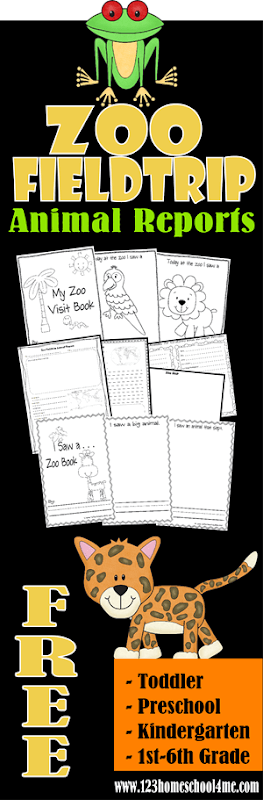 FREE Zoo Fieldtrip Animal Reports - Great for field trips to the zoo for homeschool toddler, preschool, kindergarten, and elementary students.