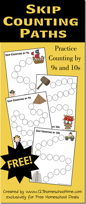 Free Skip Counting by 9s and 10s math worksheets #mathworksheets #kindergarten #homeschooling