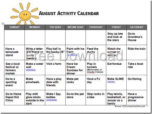 August Activity Calendar for Kids - Summer Bucket List made easy!
